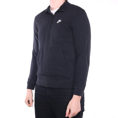 Nike - Black Embroidered Quarter Zip Sweatshirt - Medium