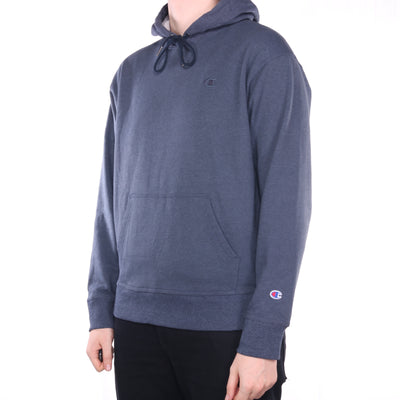 Champion - Blue Embroidered Single Stitch Hoodie - Large