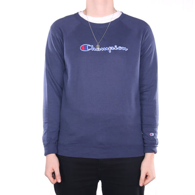 Champion - Navy Spellout Embroidered Crewneck Sweatshirt - Large