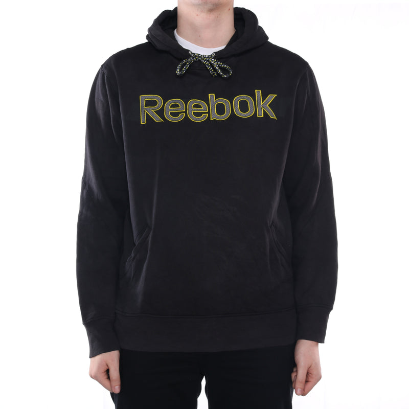 Reebok - Black Embroidered Spellout Hoodie - XLarge