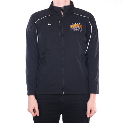 Nike - Black Embroidered Fleece Lined Zipped Windbreaker with Hood - Medium