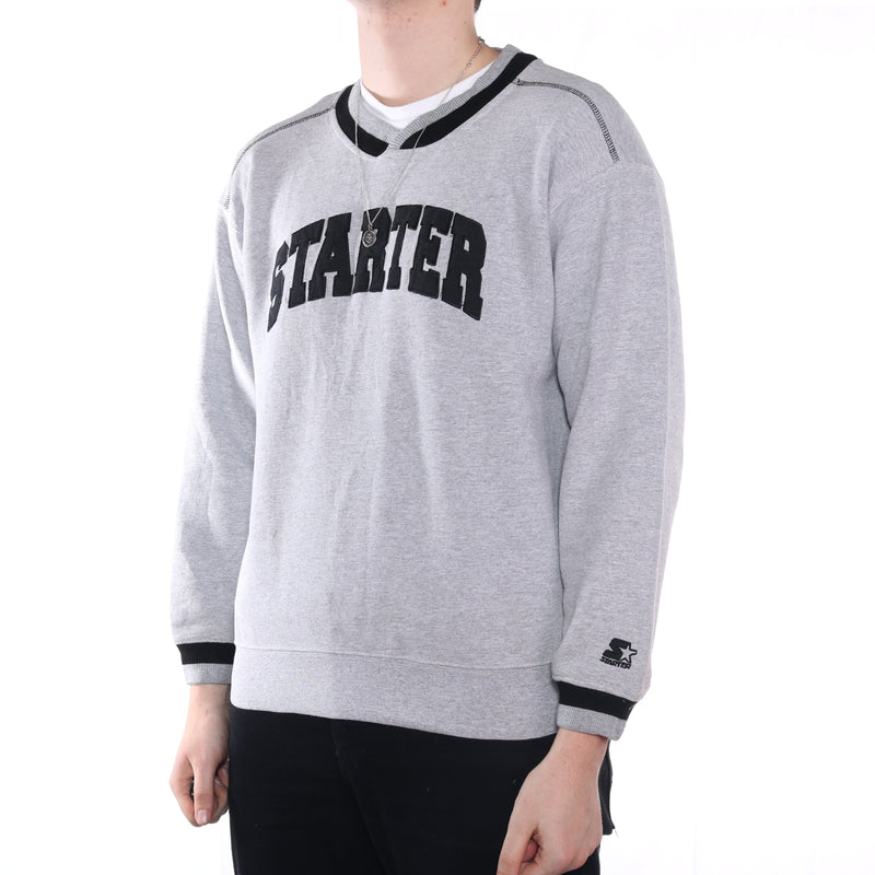 Starter - Grey Embroidered Spellout Sweatshirt - Large