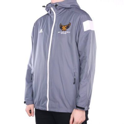 Adidas - Grey Embroidered Full Zip Windbreaker - Large