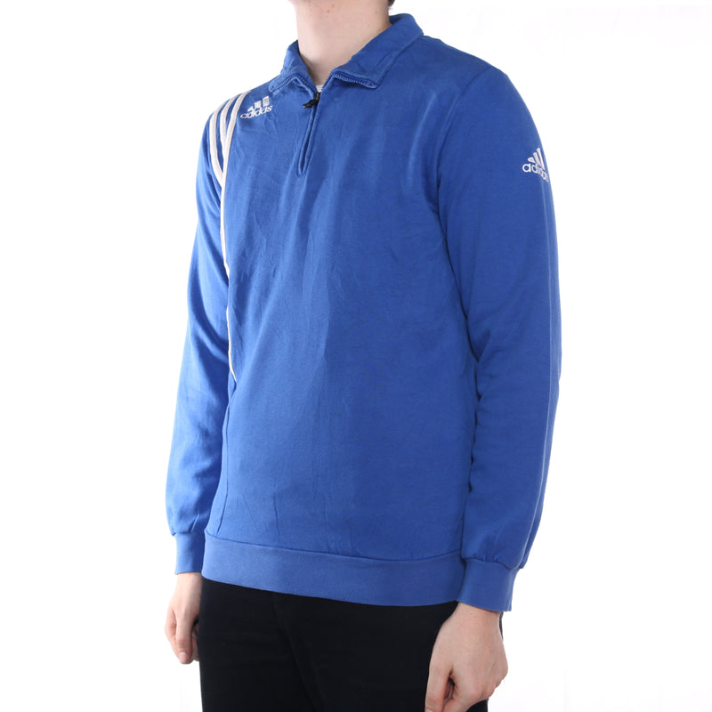 Adidas - Blue Embroidered Quarter Zip Jumper  - Medium
