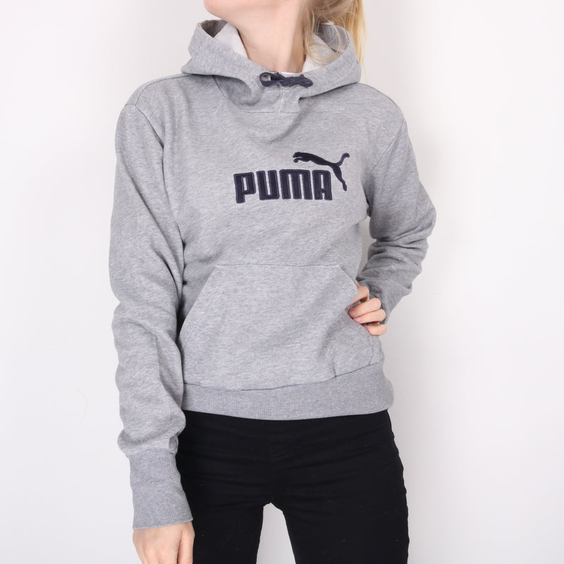Puma - Grey Embroidered Spellout Hoodie  - Small