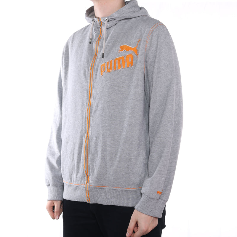 Puma - Grey Embroidered Zip Up Hoodie - XLarge