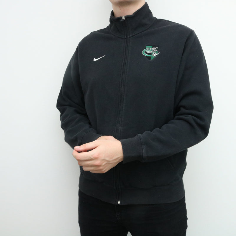 Nike - Black Embroidered Soccer Zip Up Sweatshirt - Large