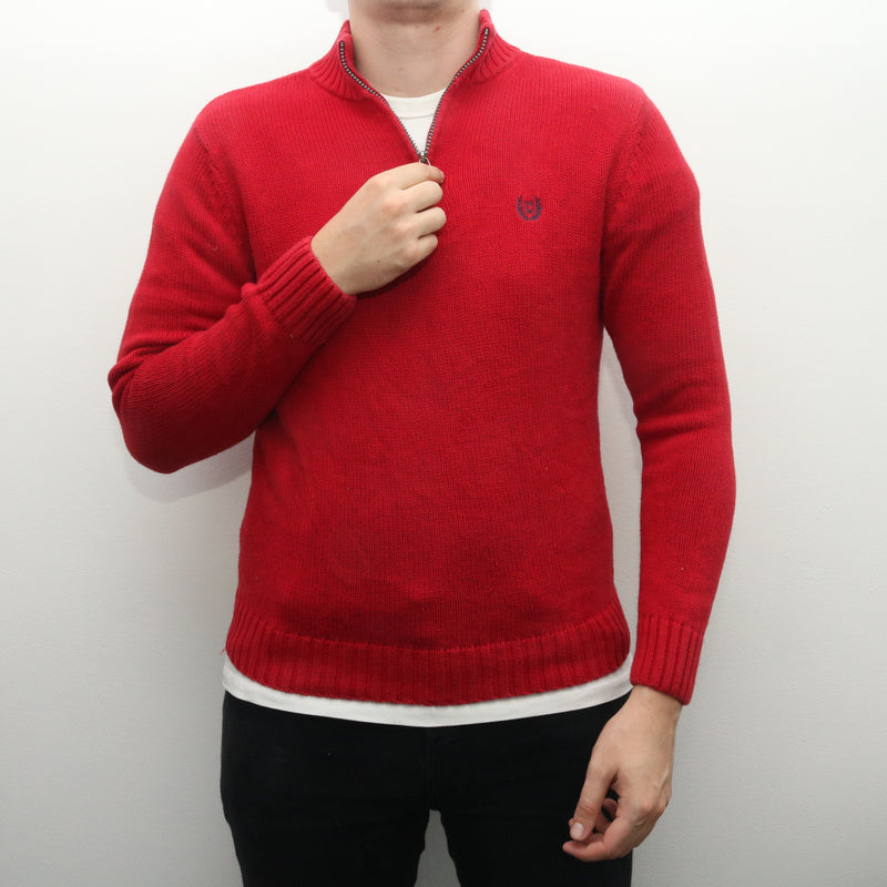 Ralph Lauren - Red Chaps Embroidered Quarter Zip Jumper - Medium