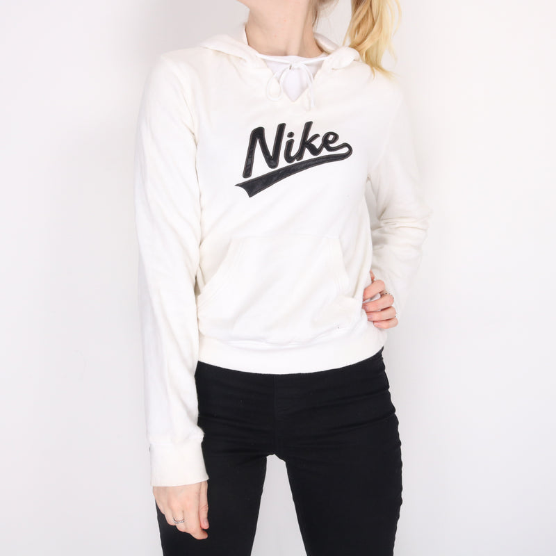 Nike - White Embroidered Spellout Hoodie - Small
