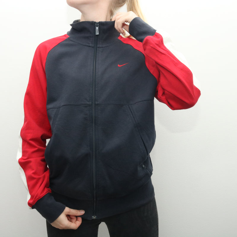 Nike - Red Embroidered Zip Up Jumper - Medium