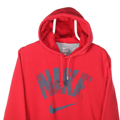 Red Nike Spellout Hoodie - Large