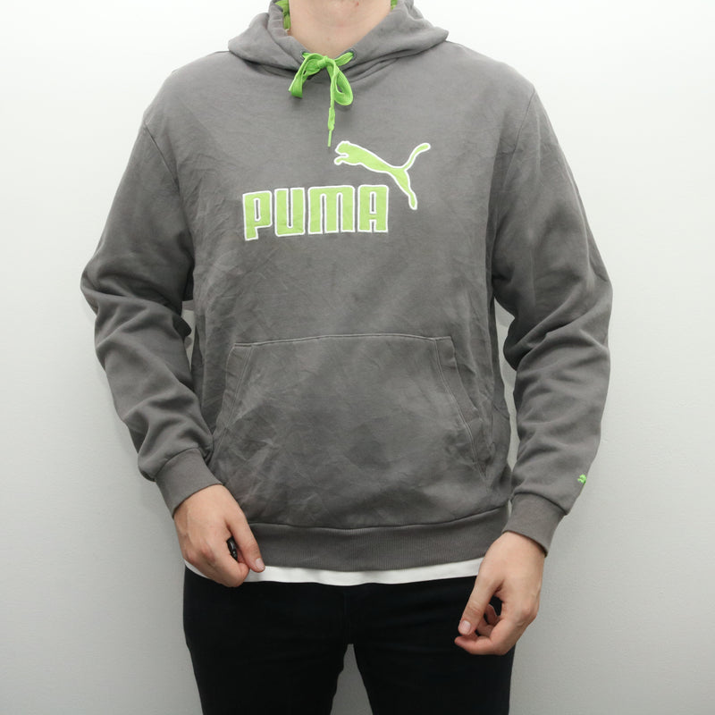 Puma - Grey and Green Embroidered Hoodie - Large
