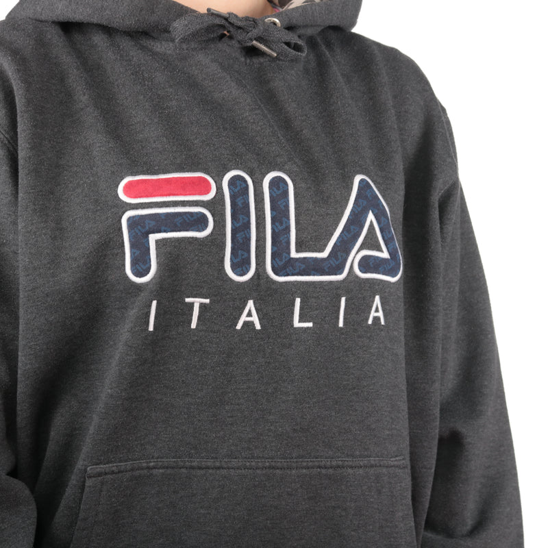 Fila- Grey Embroidered Spellout Hoodie- Medium