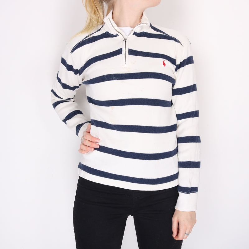 Ralph Lauren - White and Blue Embroidered Quarter Zip Jumper - Large