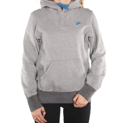 Nike - Grey Embroidered Spellout Hoodie- Small