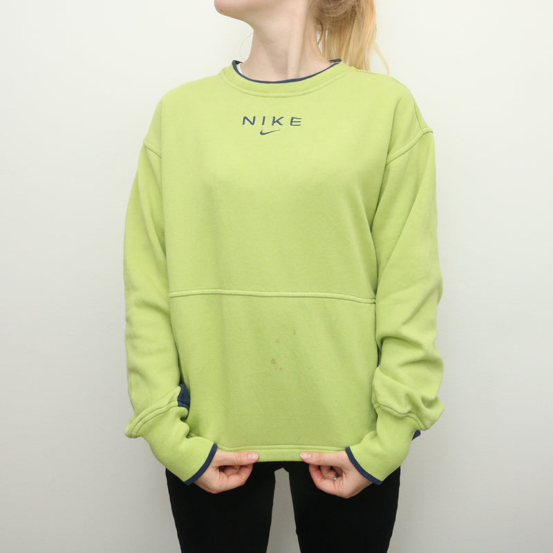 Nike - Rare Green Middle Swoosh Embroidered Crewneck Sweatshirt - Medium