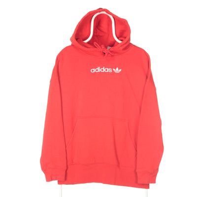 Red Adidas Middle Logo Hoodie - Small