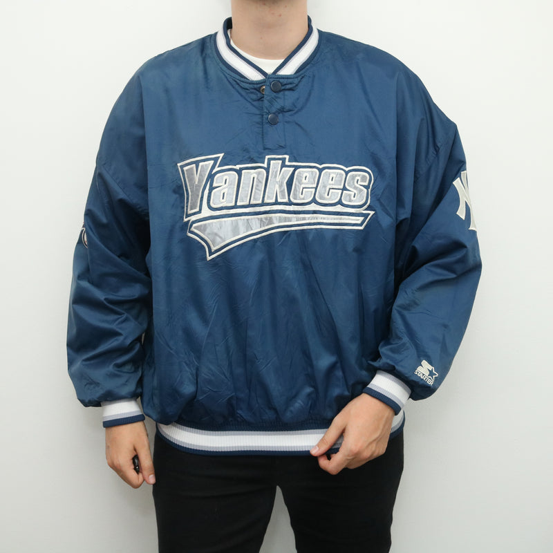 Starter - Blue Embroidered Yankees Quarter Button Windbreaker - XXLarge