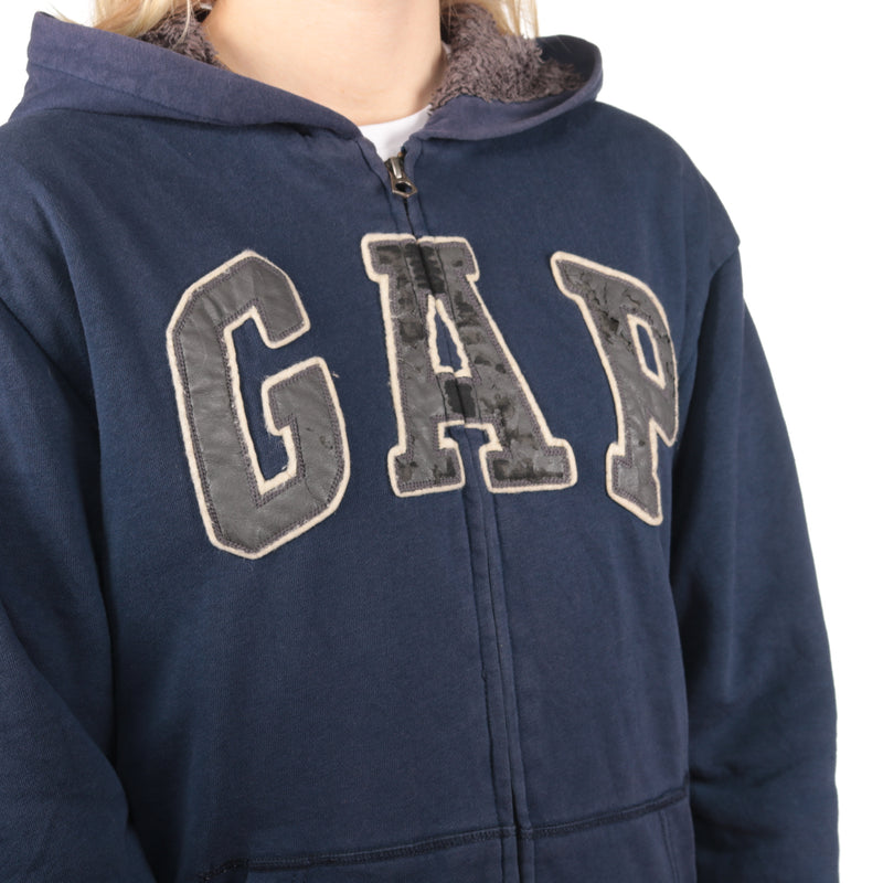 GAP - Blue Embroidered Zipped Hoodie - Medium