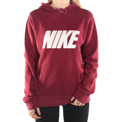 Nike  - Burgundy Spellout Hoodie - Small