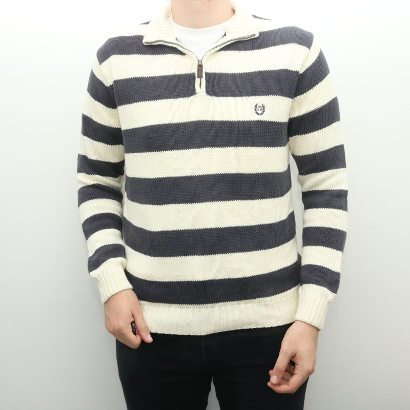 Ralph Lauren - White and Blue Striped Chaps Embroidered Quarter Zip Jumper - XLarge