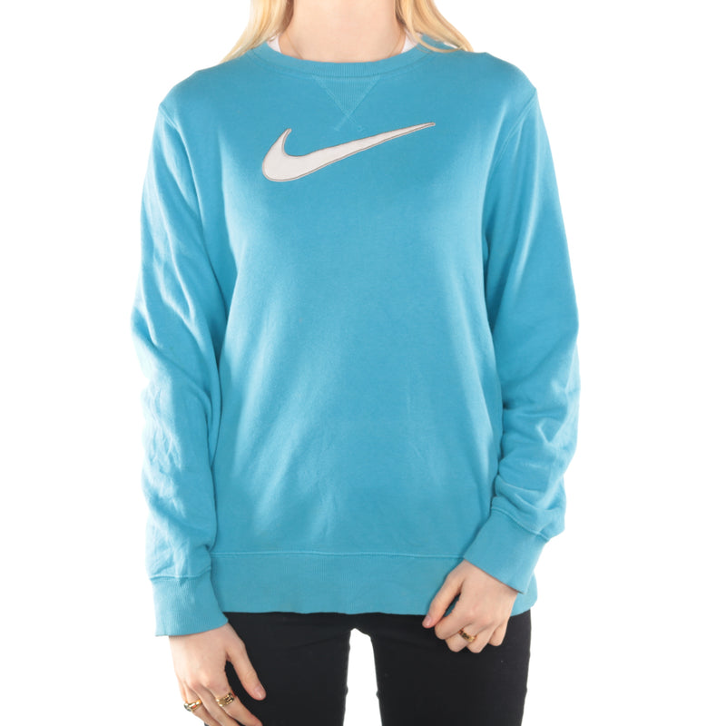 Nike  -  Blue Embroidered Large Swoosh Sweatshirt - XLarge