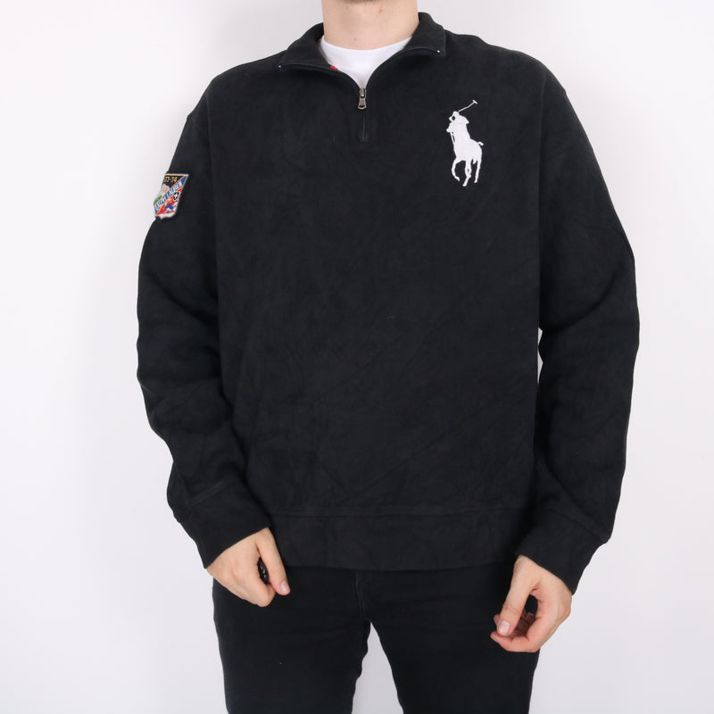 Ralph Lauren - Black Embroidered Quarter Zip Jumper - XXLarge