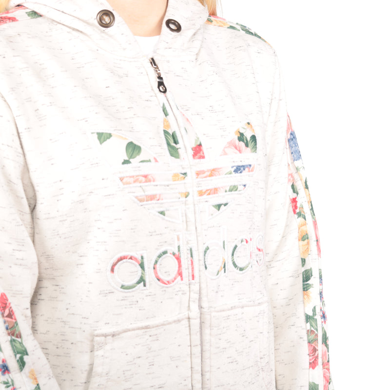 Adidas -  Cream Embroidered Zip Up Hoodie - Medium