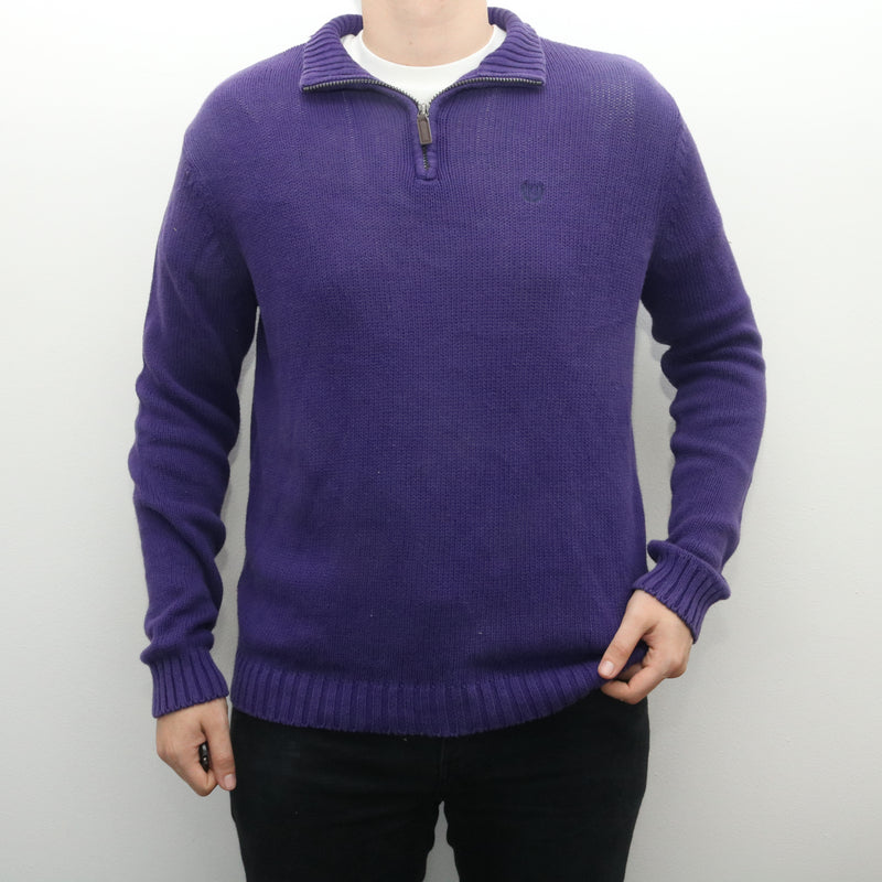 Ralph Lauren - Purple Chaps Embroidered Quarter Zip Jumper - Medium