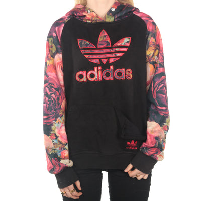 Adidas -  Black and Patterned Embroidered Hoodie - XXLarge