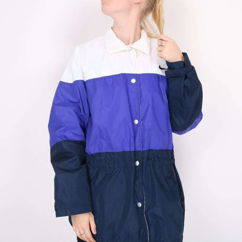 Nike - Blue Purple and White Embroidered Coach Jacket - Medium