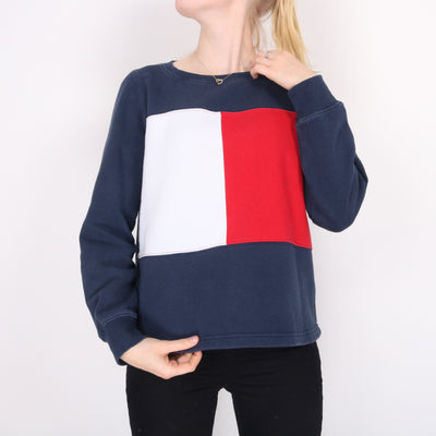 Tommy Hilfiger - Blue and Red Crewneck Sweatshirt - Medium