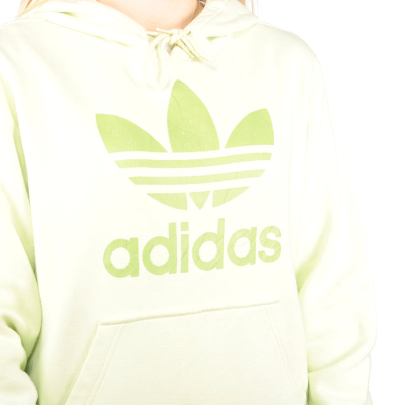 Adidas -  Lime Green Printed Spellout Hoodie - Medium