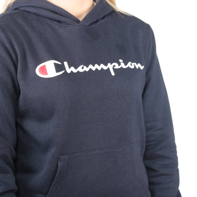Champion -  Navy Printed Spellout Hoodie - Large