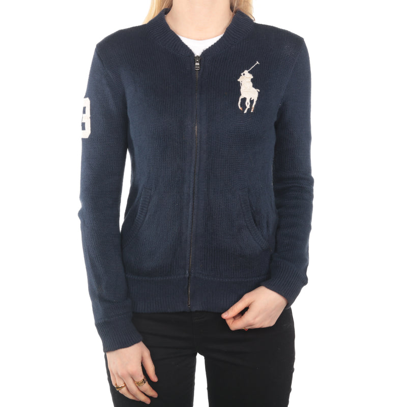Ralph Lauren -  Navy Zip Up Jumper - Medium