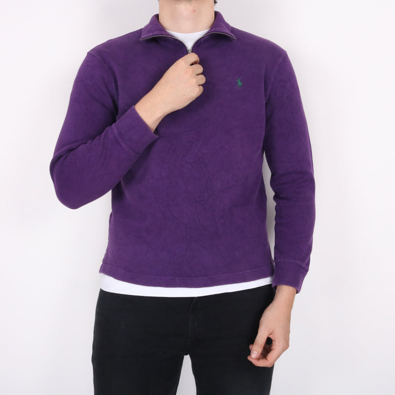 Ralph Lauren - Purple Embroidered Quarter Zip Jumper - Medium