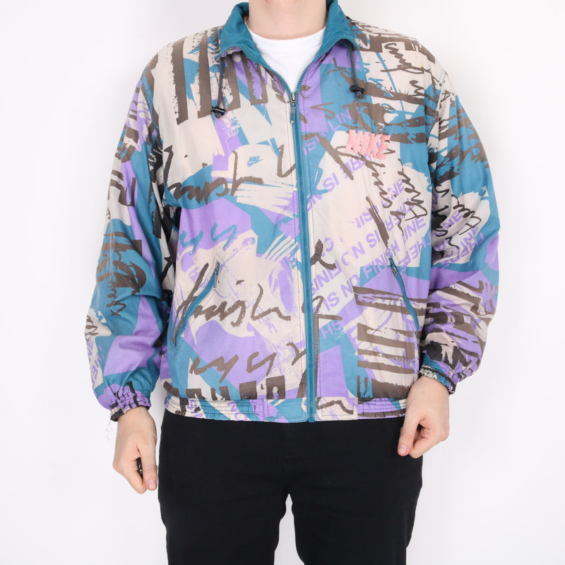 Nike - Blue And Purple Embroidered Retro Windbreaker - Large