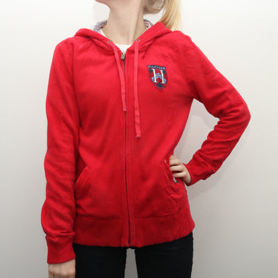 Tommy Hilfiger - Red Embroidered Zipped Hoodie - Medium