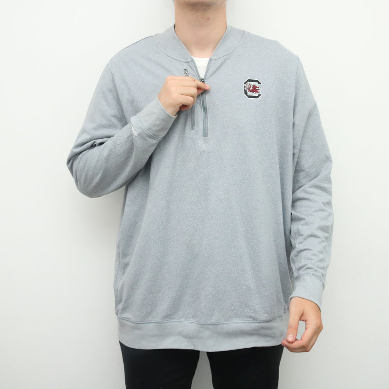 Under Armour - Grey Embroidered Quarter Zip Sweatshirt - XXXLarge