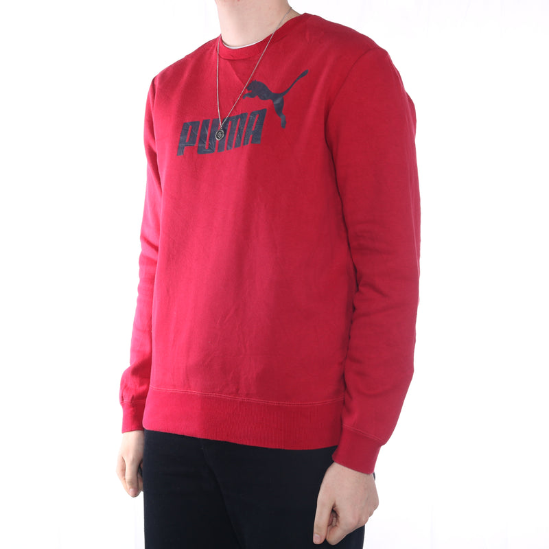 Puma - Red Printed Spellout Sweatshirt - Large