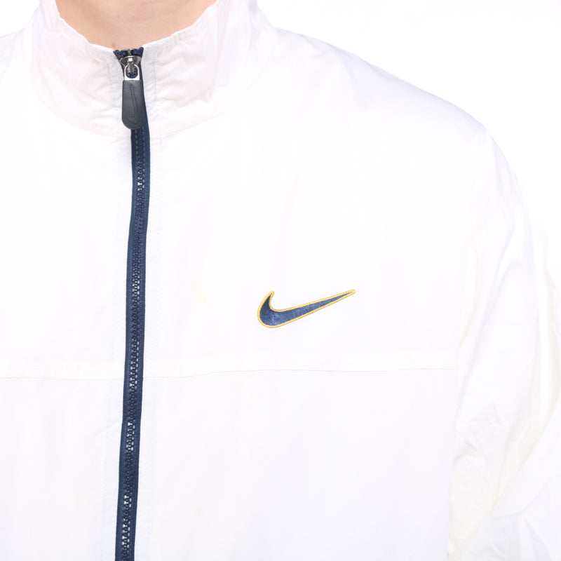 Nike - Cream Embroidered Zip Up Windbreaker - Large