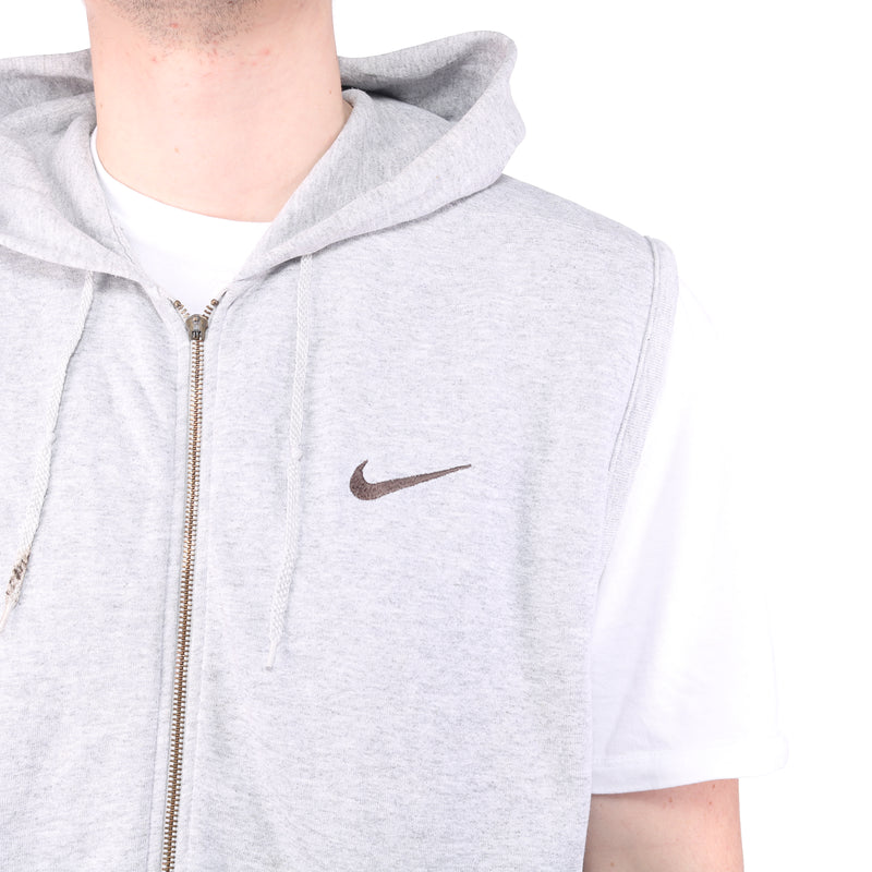 Nike - Grey Embroidered Hooded Gilet - Large