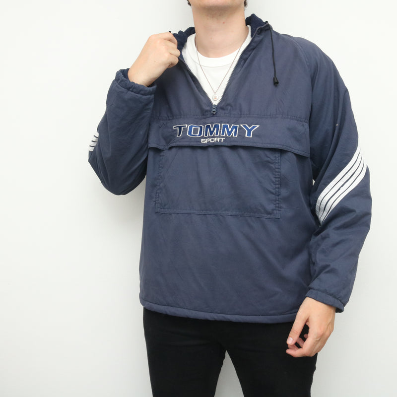 Tommy Hilfiger - Blue Tommy Sport Embroidered Half Zip Windbreaker - Large