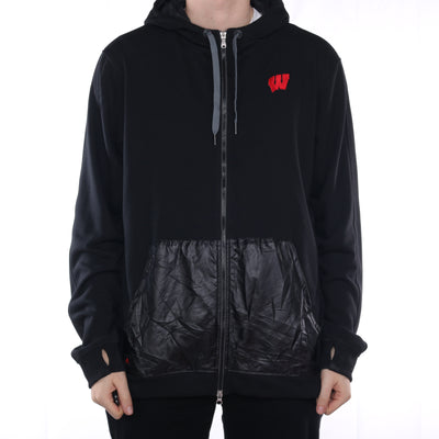 Adidas - NEW Black Zip Up Embroidered Hoodie- XXLarge