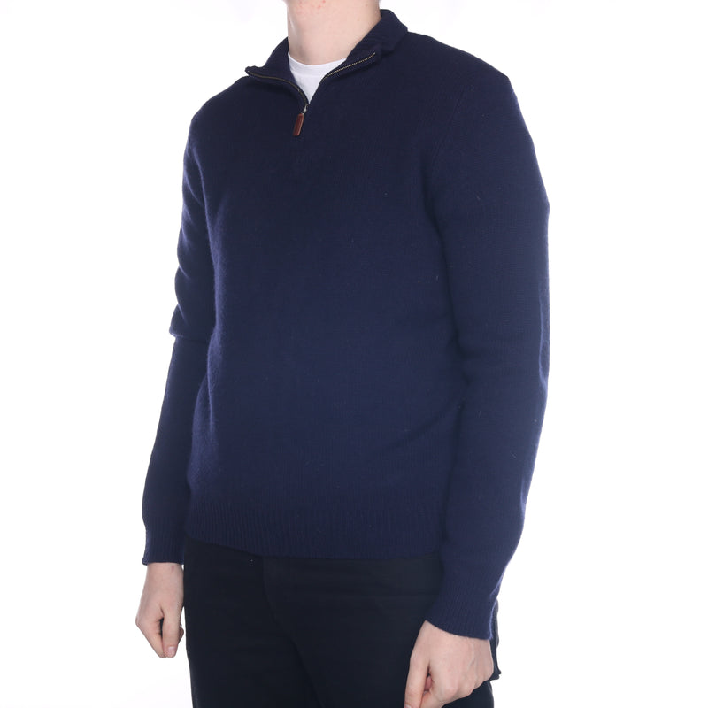 Ralph Lauren - Navy Embroidered Quarter Zip Jumper - Large