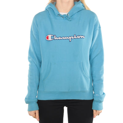 Champion - Blue Reverse Weave Embroidered Spellout Hoodie - Small