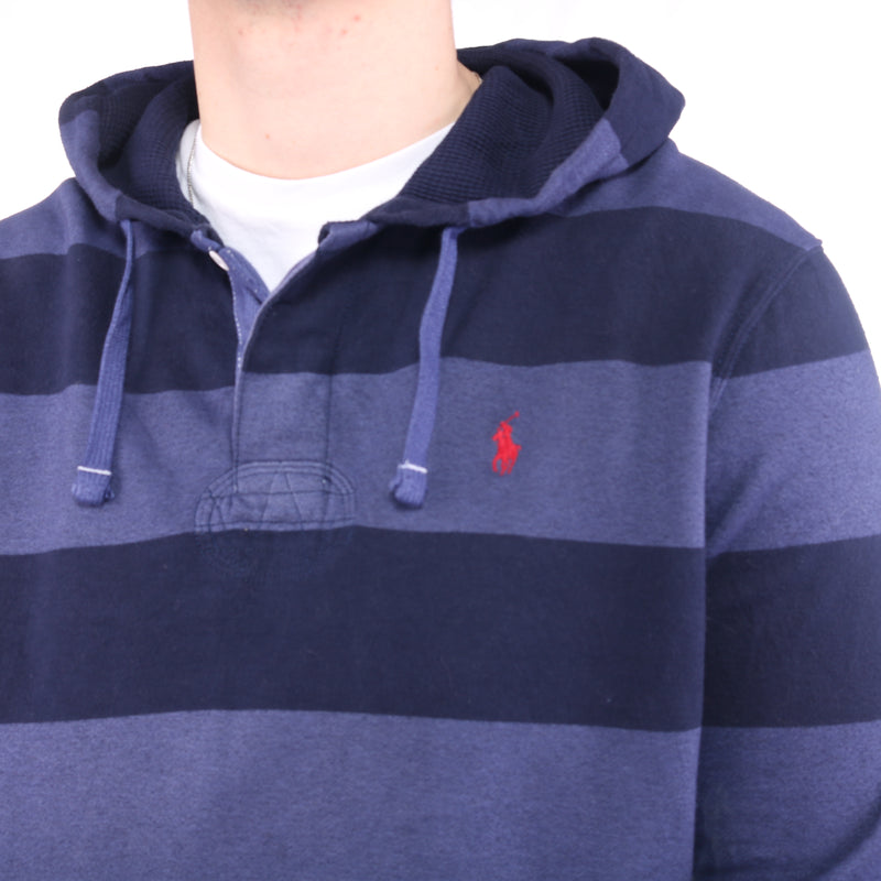 Ralph Lauren - Blue Stripped Embroidered Hoodie - Large