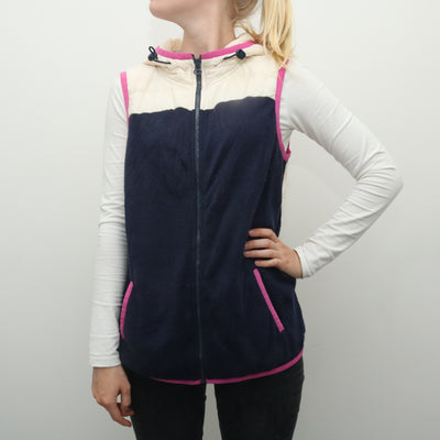 Tommy Hilfiger - Blue and White Padded Gilet Vest with Hood - Large