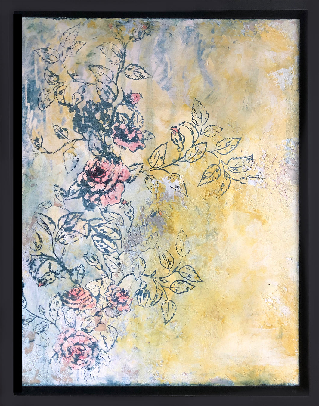 Roses mixed media painting