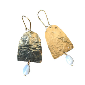 Hand hammered earrings with semi precious stone or pearls